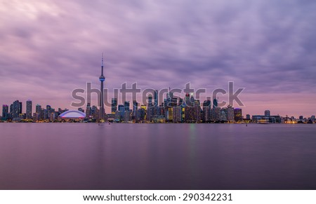 Toronto Skyline during sunset with a natural purple tone.