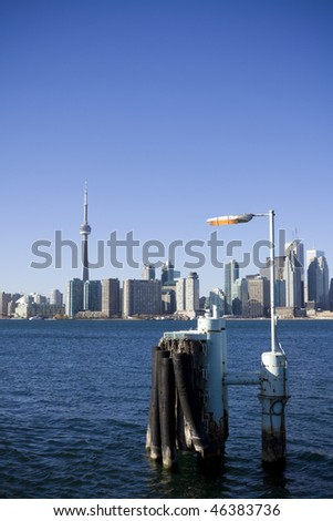 Toronto skyline during the day as seen from on board the toronto island ferry - stock photo