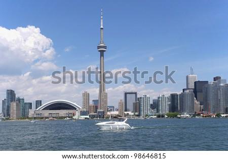 Toronto skyline from Lake Ontario - stock photo