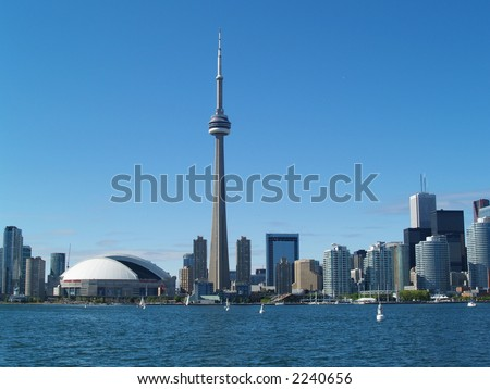Toronto Skyline from Toronto Island on Lake Ontario - stock photo