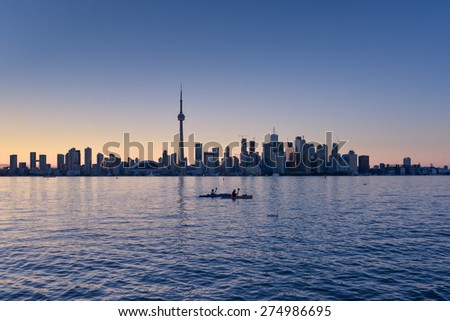 Toronto skyline in the dusk - stock photo