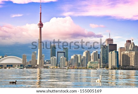 Toronto Skyline view from center island  - stock photo