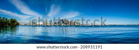 Toronto skyline waterfront panorama from Centre Island, Ontario, Canada - stock photo