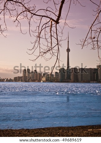 Toronto skyline with the CN Tower - stock photo