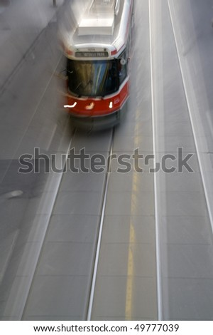 Toronto Streetcar in Motion - stock photo