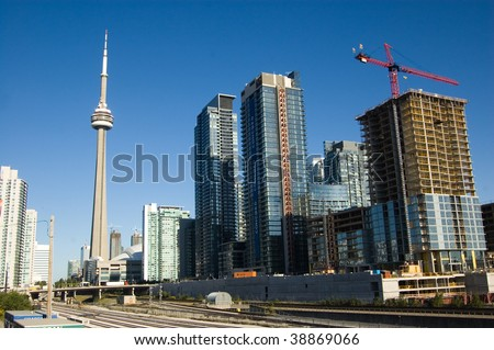 toronto tower cn and high-rise building construction site - stock photo