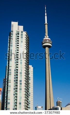 toronto tower cn urban landscape - stock photo