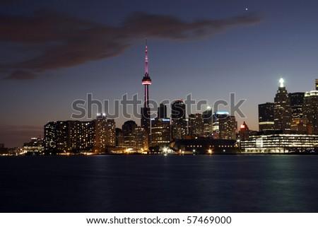 Toronto view at night - stock photo