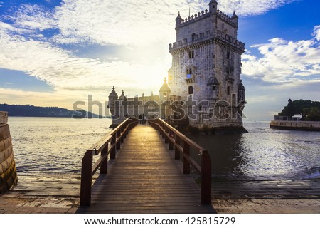 Torre de Belem - famous landmark of Lisbon , Portugal - stock photo