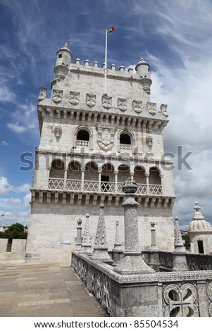 Torre de Belem is a fortified tower in Lisbon Portugal. The tower was build in the earth 16th century and formed part of the defence system at the entrance of the River Tagus. - stock photo