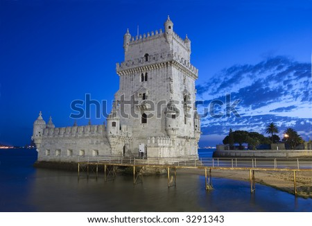 Torre de Belem is one of the most important monument of the city of lisbon - stock photo