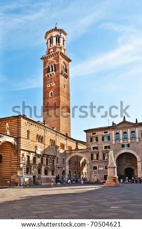Torre dei Lamberti in Piazza delle Erbe, Verona, Italy - stock photo