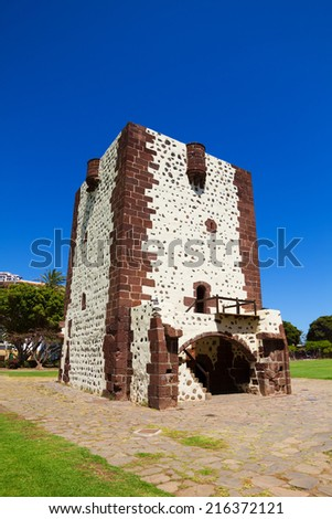 Torre del Conde Tower in sunny day at La Gomera island, Canary islands, Spain. It was built in 1450. - stock photo