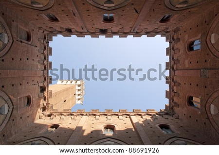 Torre del mangia in siena It is a famous  tower in Siena, Italy - stock photo