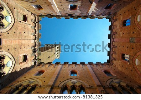 Torre del mangia siena is a tower in Siena, Italy - stock photo