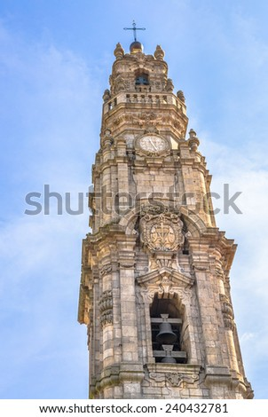 Torre dos Clerigos in downtown Porto. - stock photo