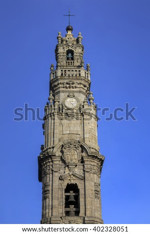 Torre dos Clerigos tower in the center of Porto, Portugal