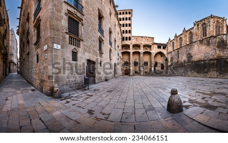 Torre Mirador and Palau del Lloctinent at Placa del Rei in the Morning in Barcelona, Catalonia, Spain - stock photo