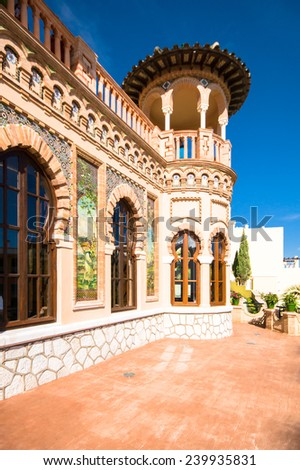 TORREMOLINOS, SPAIN - OCTOBER 18: Navajas House (arabic building) on October 18, 2014 in Torremolinos, Malaga, Spain. It was built in 1925.