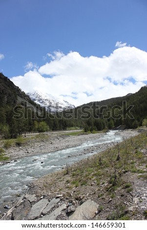 Torrente Ripa near Cesana Torinese and Sestriere, Piedmont, Italy - stock photo