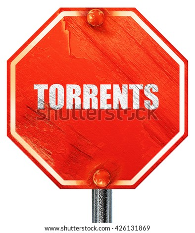 torrents, 3D rendering, a red stop sign - stock photo