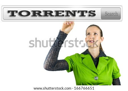 Torrents written in search bar on virtual screen. - stock photo