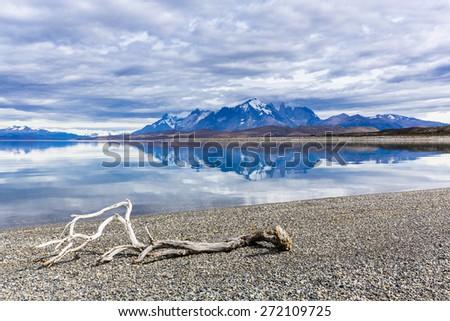 Torres del Paine at  Lago Sarmiento, Cordillera del Paine - stock photo