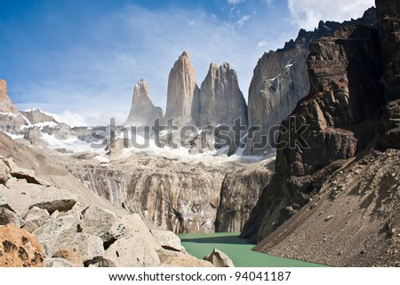 torres del paine mountain and lake - stock photo