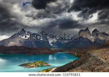 Torres del Paine National Park, Lake Pehoe and Cuernos mountains, Patagonia, Chile - stock photo