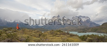Torres del Paine National Park, Patagonia, Chile: The Turquoise Lake (Lago) Pehoe and the Majestic Cuernos del Paine (Horns of Paine) - stock photo