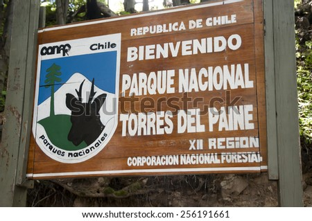 Torres Del Paine National Park Sign - Chile - stock photo