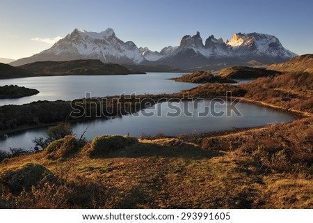 Torres del Paine National Park with sunrise over Horns of Paine, Patagonia, Chile,