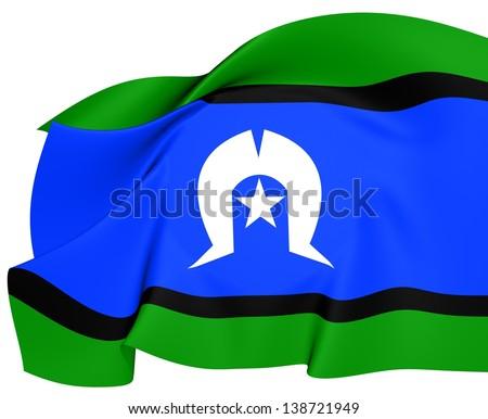 Torres Strait Islanders Flag. Close Up. - stock photo
