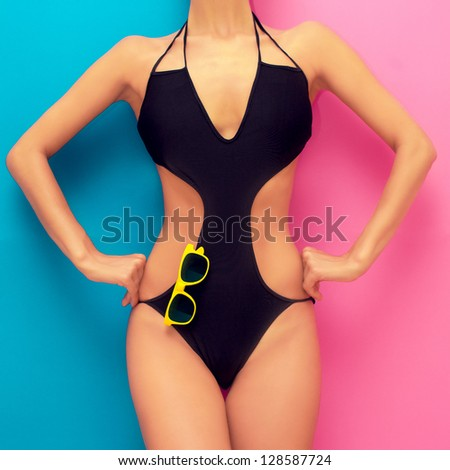 Torso Girl Fashionable Black Bathing Suit Stock Photo ...