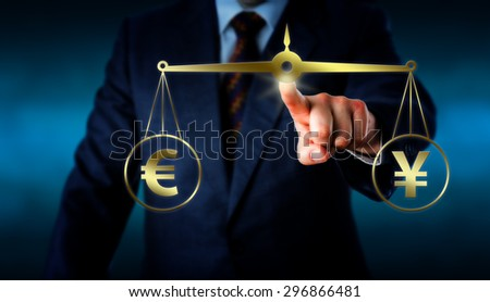 Torso of a trader reaching out to equate the Euro sign at par with the China Yuan symbol on a golden weight scale. Financial metaphor for the modern foreign exchange market. Illustration and photo. - stock photo