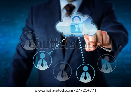 Torso of business executive lifting index finger to touch a locked cloud button connected to peers. Two knowledge worker symbols are lighting up, while three white collar icons remain inactive. - stock photo
