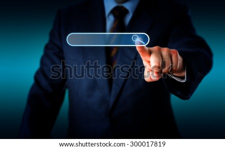 Torso of businessman pushing forward his left hand to touch a magnifier icon in a virtual search bar with his index finger. Do place your text into the empty search box. Background with copy space. - stock photo