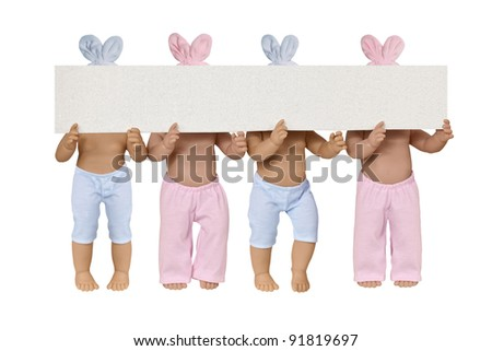 Torso of Four dolls with Rabbit Ears Standing and Holding blank sheet of paper, Isolated On White - stock photo