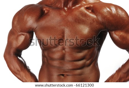 Torso of muscular young man isolated on white