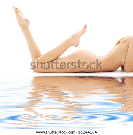 torso of relaxed naked woman over white