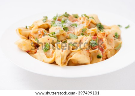 tortellini stuffed with cheese in a creamy tomato and parmesan  cheese sauce - stock photo