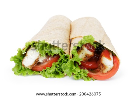 tortilla chicken wraps, isolated on white background