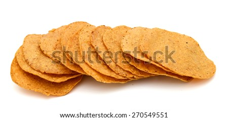 tortilla chips roll up on white background - stock photo