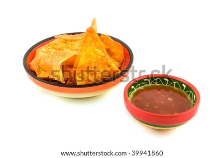 Tortilla chips with chili sauce isolated on white background - stock photo