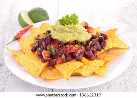 tortilla chips with vegetables, nachos - stock photo