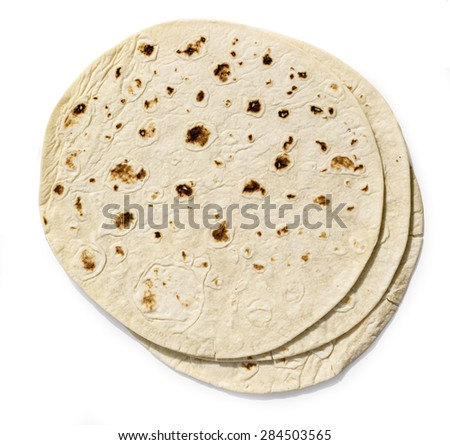 tortilla on white background with clipping path