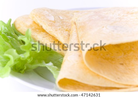 tortilla on white plate with lettuce - stock photo