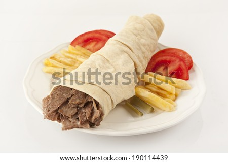 Tortilla with a delicious turkish doner grilled meat