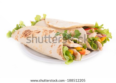 tortilla wrap, fajita - stock photo