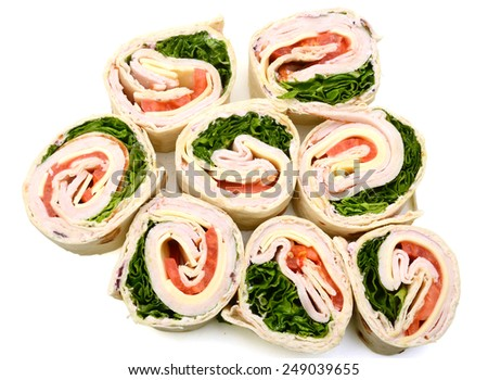 tortilla wraps with meat and vegetable on white - stock photo